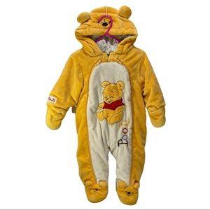 Disney Winnie the Pooh Soft Fuzzy Zippered Jumper Onesie 6 Months Footsies